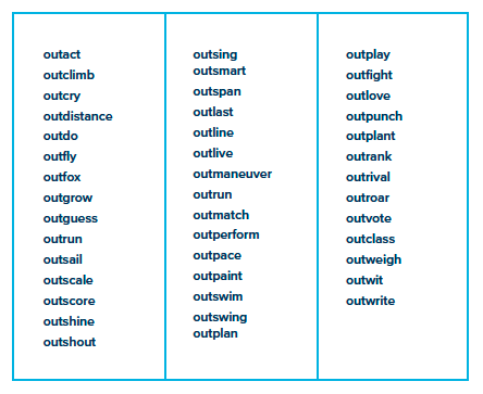 "a long list of example of suitable action words beginning with ""out"""