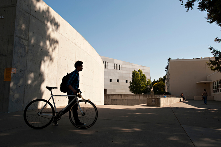 UC Davis campus scene of the Social Sciences and Humanities building