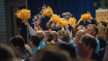 Cheering crowd with pom poms